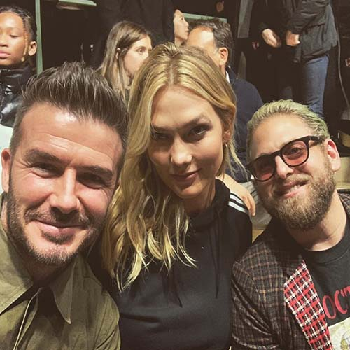 """David Beckham with Karlie Kloss and Jonah Hill at launch of """"Here To Create"""" initiative"""