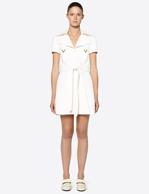 Double Crepe Wool Dress with Gold V Detailing from Valentino
