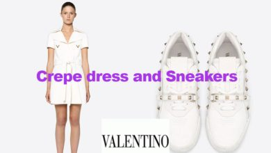 Double crepe dress and sneakers from Valentino