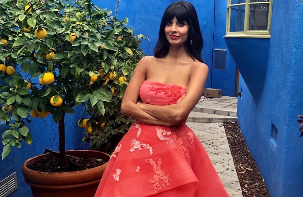 Jameela Jamil wears jeans and dress to Golden Globes 2019