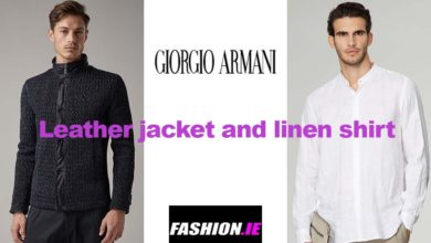 Leather jacket and shirt from Giorgio Armani