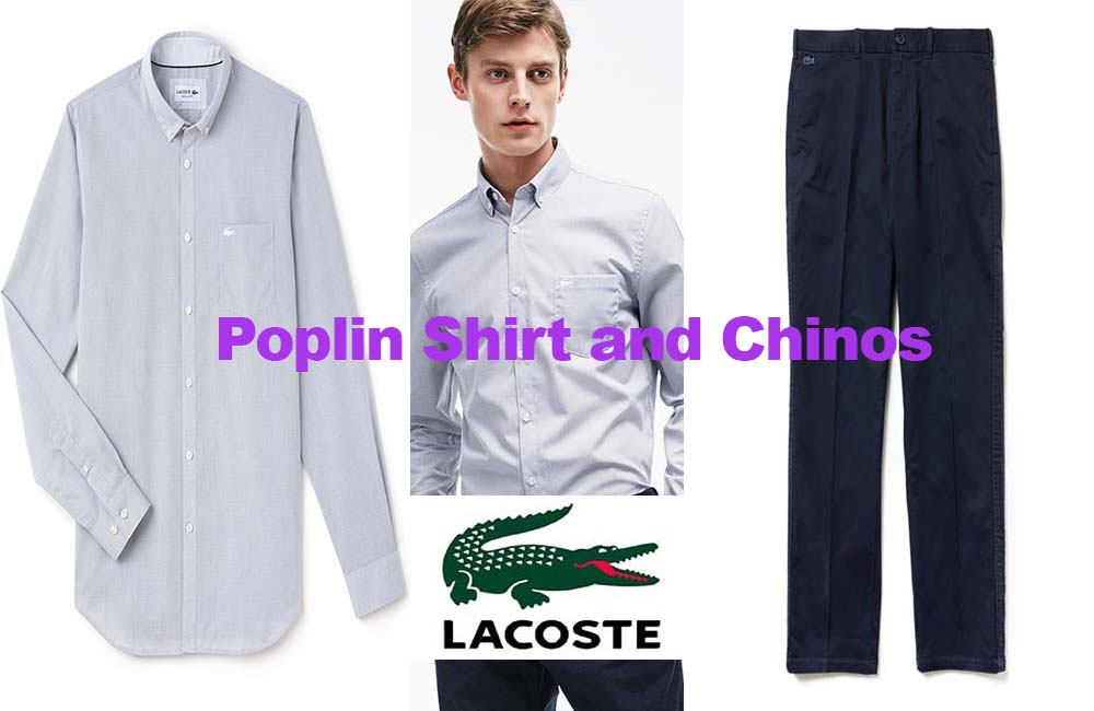 Men's poplin shirt and chinos from Lacoste