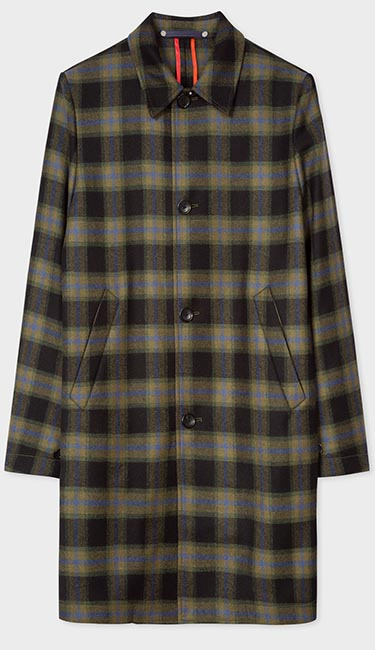 Men's Black And Green Check Wool-Blend Unlined Mac from Paul Smith
