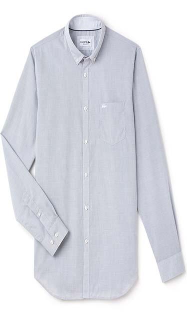 Men's Regular Fit Texturized Poplin Shirt from Lacoste