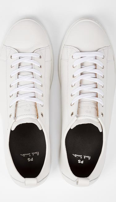 Men's White Calf Leather 'Miyata' Trainers from Paul Smith