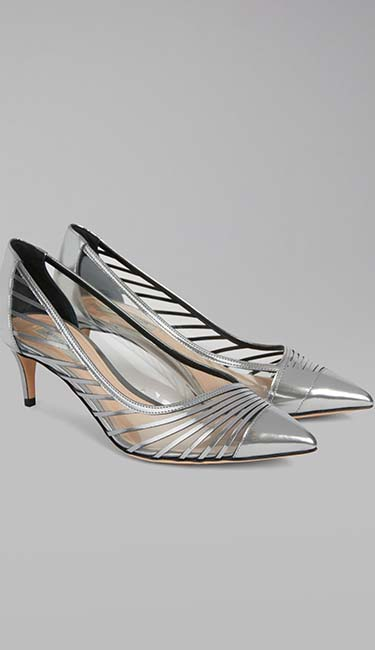 Metallic wet-look leather pump with vinyl inserts from Giorgio Armani