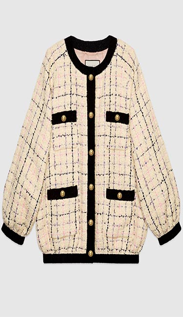Oversize tweed bomber jacket from Gucci