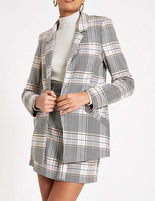 Pink Check Open Front Blazer from River Island
