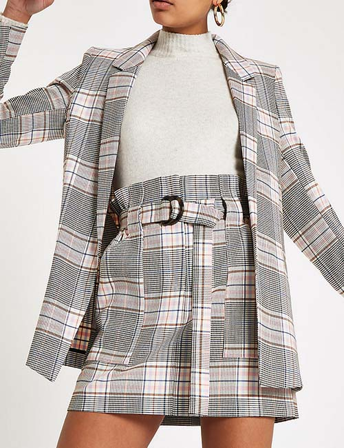 Pink Check Paperbag Mini Skirt from River Island