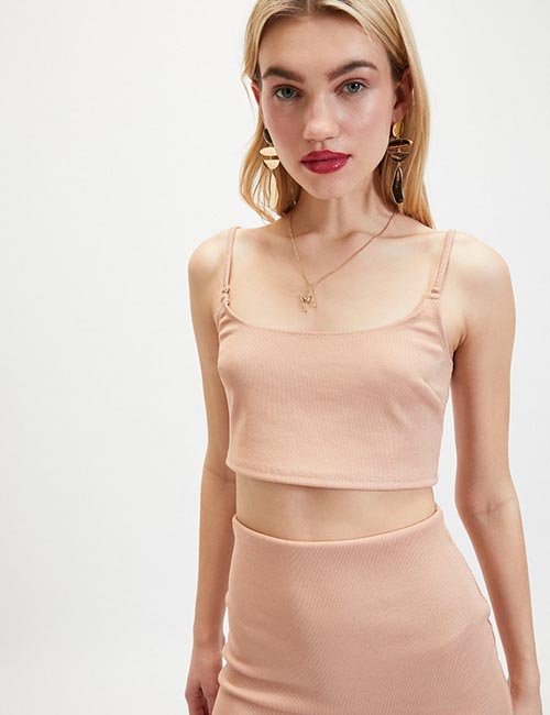 Pink Glitter Strap Detail Crop Top from Miss Selfridge