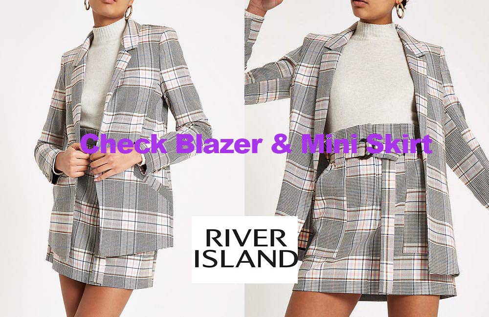 Pink check mini skirt and blazer from River Island