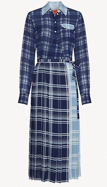 Pleated Silk Check Dress from Tommy Hilfiger