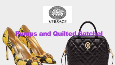Quilted satchel bag and pumps from Versace