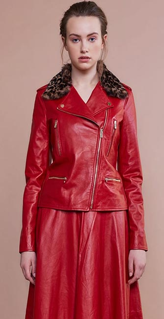 Red Leather Biker Jacket from Irish designer Umit Kutluk