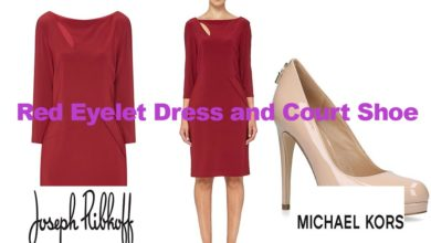 Red eyelet dress from Joseph Ribkoff & Michael Kors shoe