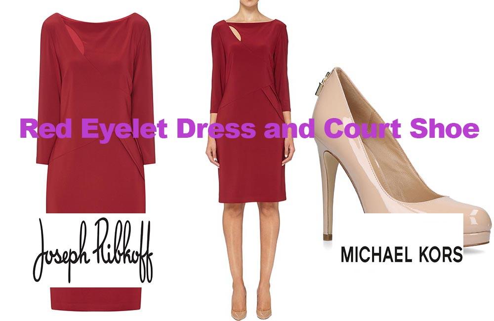 Red eyelet dress from Joseph Ribkoff & Michael Kors shoe