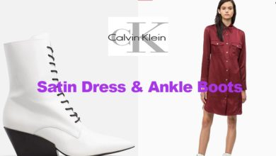 Satin dress and ankle boots from Calvin Klein