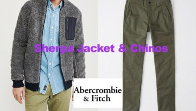 Sherpa jacket and chinos from Abercrombie & Fitch
