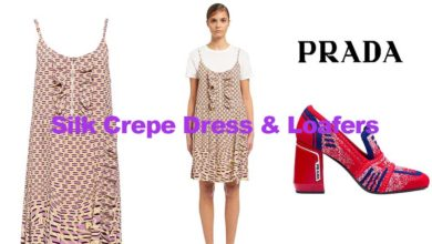 Silk crepe dress and loafers from Prada