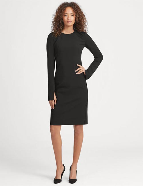 Stretch Wool Sleeve-Slit Dress from Ralph Lauren