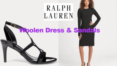 Stretch wool dress and sandals from Ralph Lauren