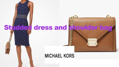 Studded dress and shoulder bag from Michael Kors