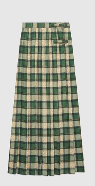 Tartan GG Wool Maxi Skirt from Gucci