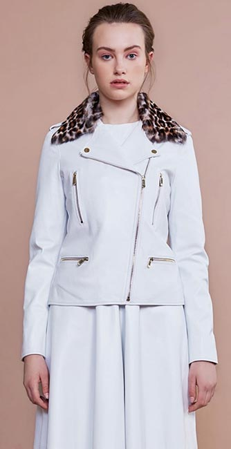 White Leather Biker Jacket from Irish designer Umit Kutluk