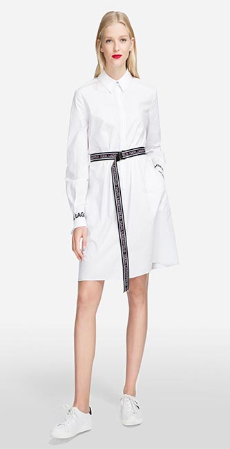White Shirt dress with logo belt from Karl Lagerfeld