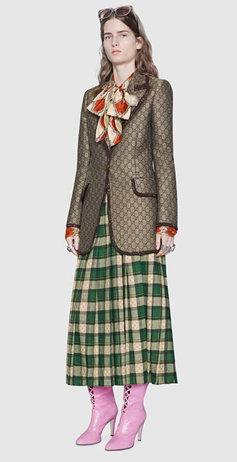 Woollen canvas jacket and skirt from Gucci