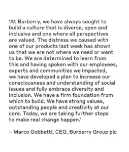 Burberry's CEO Marco Gobetti released a statement on Instagram