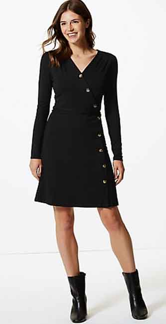 Jersey Long Sleeve Wrap Dress from Marks & Spencer