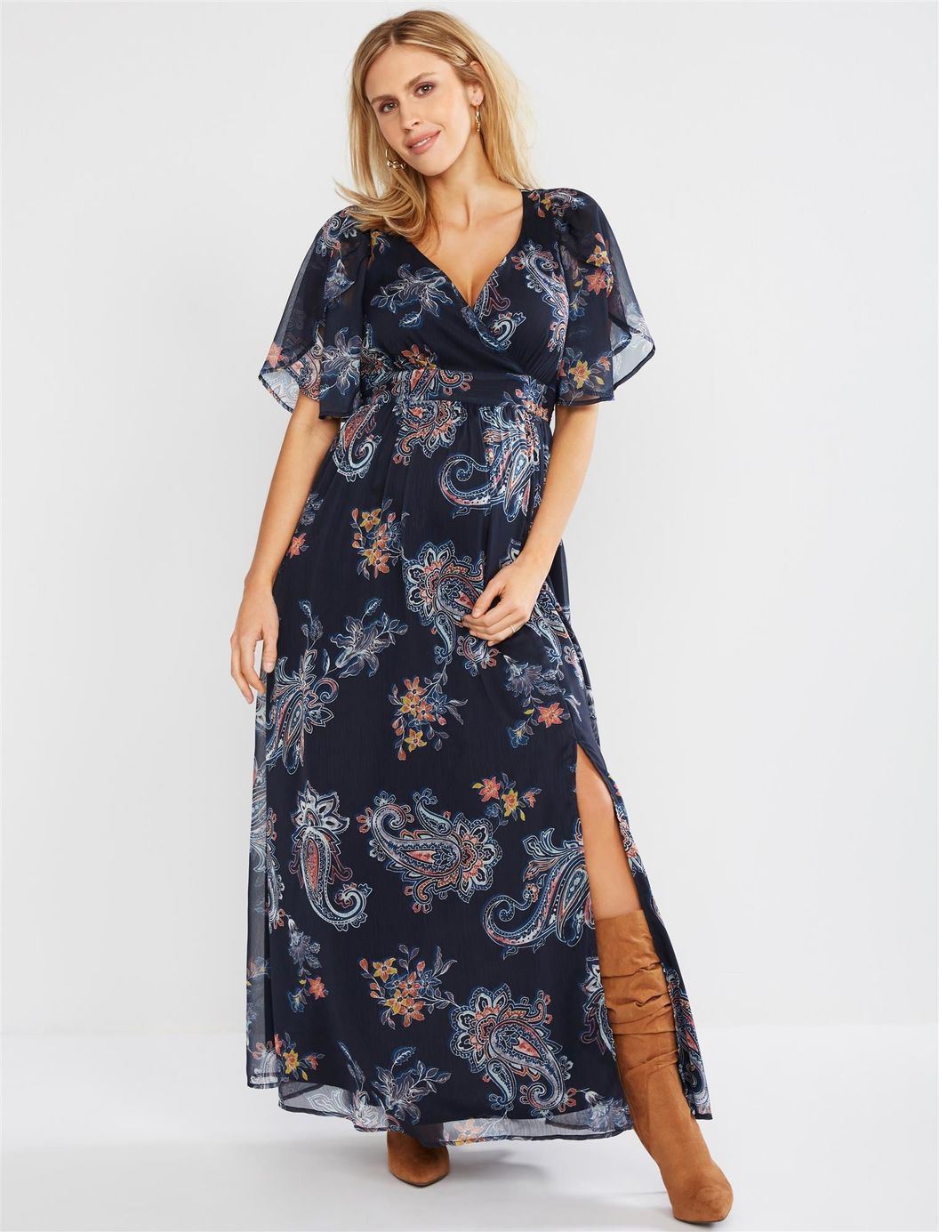 Jessica Simpson Surplice Maxi Maternity Dress