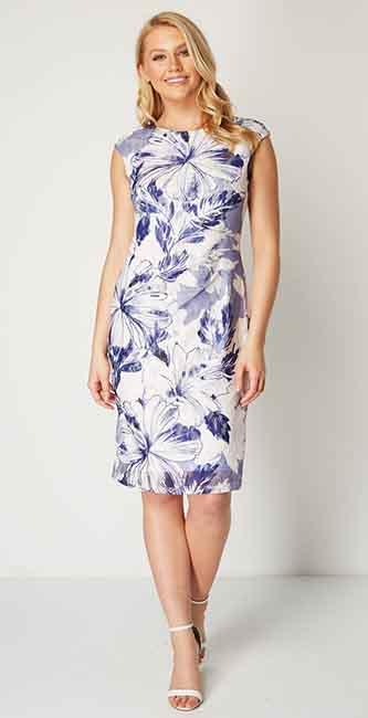 Ladies Blue Floral Print Lace Dress from Roman Originals