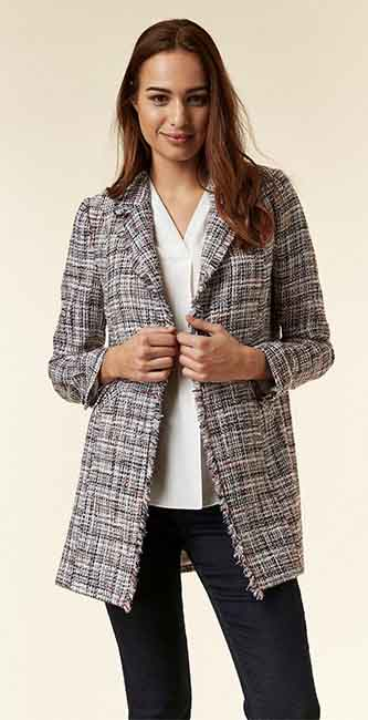 Ladies Red Checked Fitted Blazer from Wallis
