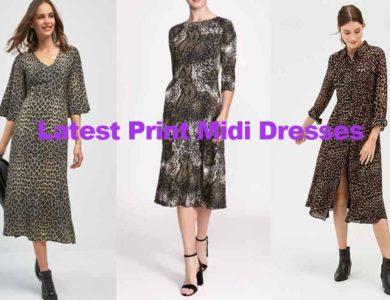 Latest fashion review of ladies print midi dresses