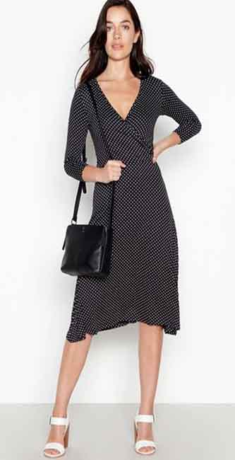 Principles Petite Black Spot Print Midi Petite Wrap Dress from Debenhams